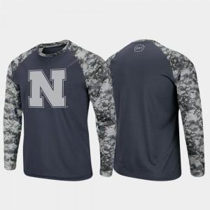 Men Nebraska Cornhuskers T-Shirt OHT Military Appreciation Charcoal Camo Raglan Long Sleeve Digi Camo