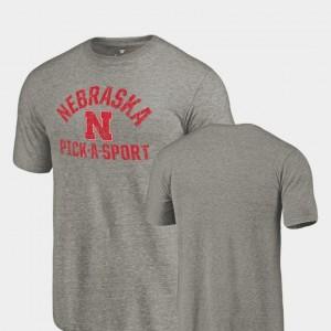 Gray Men Pick-A-Sport Tri Blend Distressed Nebraska Cornhuskers T-Shirt
