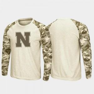 University of Nebraska T-Shirt OHT Military Appreciation Raglan Long Sleeve Desert Camo Oatmeal For Men
