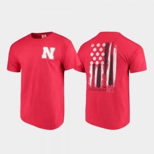 Men's Comfort Colors Scarlet Baseball Flag University of Nebraska T-Shirt