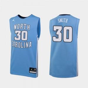 Mens Carolina Blue #30 Jordan Brand College Basketball K.J. Smith Tar Heels Jersey Replica