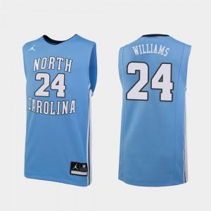 Mens Jordan Brand College Basketball Kenny Williams North Carolina Jersey #24 Carolina Blue Replica