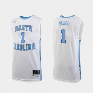 For Men's Jordan Brand College Basketball #1 White Leaky Black Tar Heels Jersey Replica