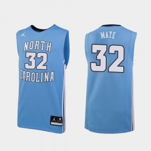 Luke Maye UNC Jersey Carolina Blue For Men's #32 Jordan Brand College Basketball Replica