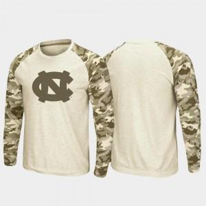 Raglan Long Sleeve Desert Camo UNC Tar Heels T-Shirt Mens Oatmeal OHT Military Appreciation