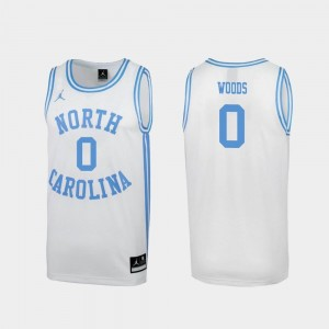 White #0 Special College Basketball March Madness Seventh Woods Tar Heels Jersey Men