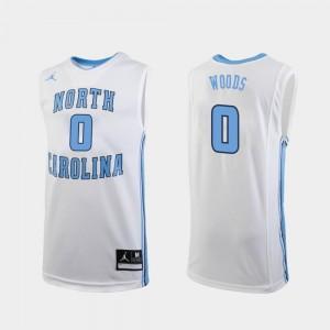 #0 Jordan Brand College Basketball White Men's Replica Seventh Woods Tar Heels Jersey