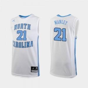 Jordan Brand College Basketball #21 Sterling Manley Tar Heels Jersey Replica White Men's