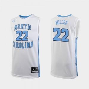 White Replica Walker Miller University of North Carolina Jersey #22 Men's Jordan Brand College Basketball