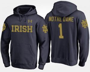 #1 No.1 Notre Dame Fighting Irish Hoodie Men Name and Number Navy