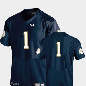 Men #1 Notre Dame Jersey Alumni Football Game Authentic Performance Under Armour Navy