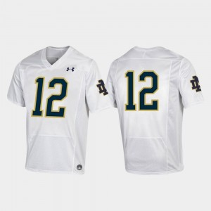 White College Football Under Armour #12 Notre Dame Fighting Irish Jersey Premier For Men