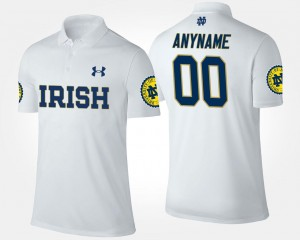 #00 Notre Dame Fighting Irish Custom Polo White Mens Name and Number