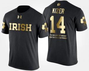 #14 Short Sleeve With Message Gold Limited For Men DeShone Kizer Notre Dame Fighting Irish T-Shirt Black