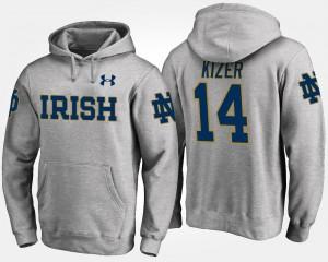 DeShone Kizer Notre Dame Fighting Irish Hoodie Gray Men's Name and Number #14