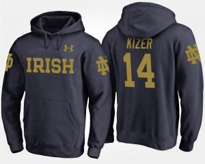 Men DeShone Kizer UND Hoodie Navy #14 Name and Number