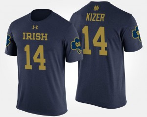 DeShone Kizer Fighting Irish T-Shirt #14 Name and Number Navy For Men's