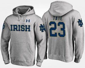 Men Name and Number Golden Tate Notre Dame Hoodie Gray #23