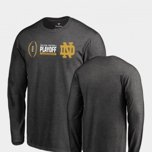 2018 College Football Playoff Bound University of Notre Dame T-Shirt Heather Gray Cadence Long Sleeve Fanatics Branded For Men