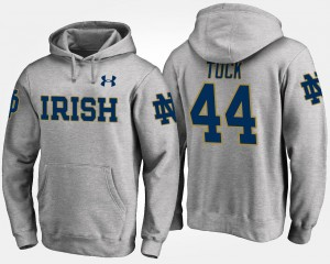 Gray Justin Tuck UND Hoodie #44 Name and Number Mens