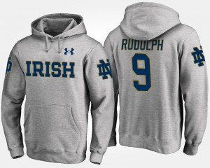 Mens Name and Number #9 Gray Kyle Rudolph Fighting Irish Hoodie