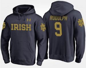 Kyle Rudolph Irish Hoodie #9 Name and Number Mens Navy