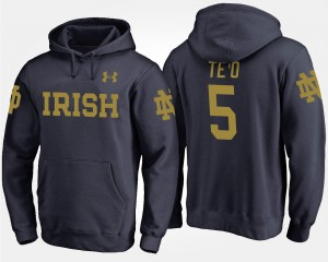 Name and Number #5 Manti Te'o Notre Dame Hoodie Navy For Men