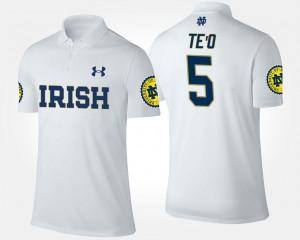 #5 Men's Name and Number Manti Te'o Irish Polo White