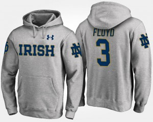 Gray Men's Michael Floyd University of Notre Dame Hoodie #3 Name and Number