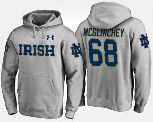 Mike McGlinchey Irish Hoodie Mens #68 Gray Name and Number