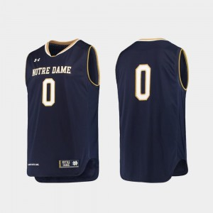 University of Notre Dame Jersey Replica Under Armour College Basketball Navy For Men's #0