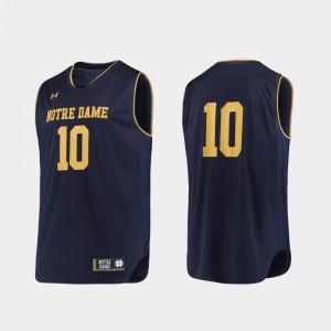 College Basketball Irish Jersey Authentic Under Armour Navy Gold Men #10