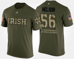 Military Quenton Nelson Notre Dame T-Shirt Camo Short Sleeve With Message #56 Men