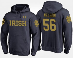 Navy Quenton Nelson UND Hoodie For Men's Name and Number #56