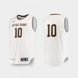 Authentic Under Armour Mens White University of Notre Dame Jersey #10 College Basketball