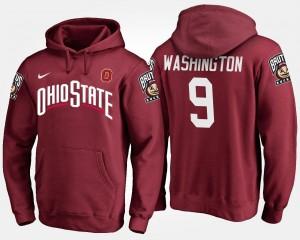 For Men Adolphus Washington OSU Buckeyes Hoodie Scarlet #9 Name and Number
