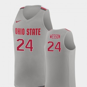 Pure Gray For Men College Basketball Replica #24 Andre Wesson Ohio State Jersey