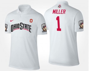 Braxton Miller OSU Buckeyes Polo For Men White Name and Number #1