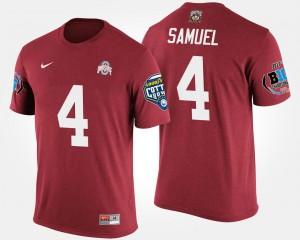 Curtis Samuel Ohio State Buckeyes T-Shirt Scarlet Bowl Game #4 Big Ten Conference Cotton Bowl For Men