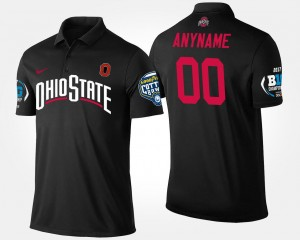Men's Black Ohio State Buckeyes Custom Polo Big Ten Conference Cotton Bowl Name and Number Bowl Game #00