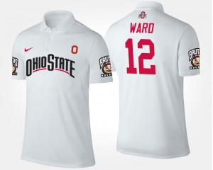 For Men White #12 Denzel Ward Ohio State Polo Name and Number