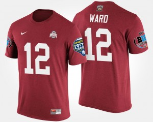 Scarlet For Men's Denzel Ward Ohio State Buckeyes T-Shirt Big Ten Conference Cotton Bowl #12 Bowl Game