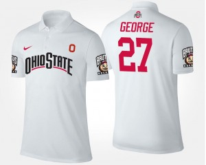 Men's Name and Number Eddie George Ohio State Polo #27 White