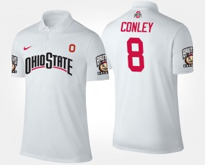 White For Men Name and Number #8 Gareon Conley Ohio State Polo