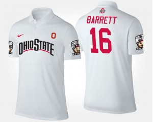 #16 White J.T. Barrett OSU Buckeyes Polo For Men's Name and Number
