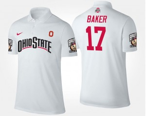 #17 White Men's Jerome Baker Ohio State Polo Name and Number