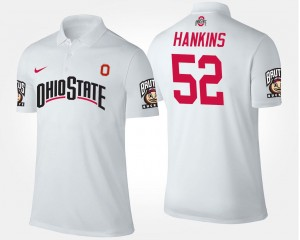 White #52 Name and Number Johnathan Hankins Ohio State Polo Mens