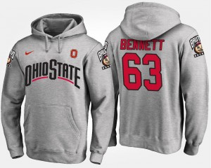For Men's Gray #63 Name and Number Michael Bennett Ohio State Hoodie