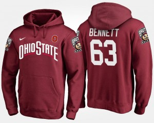Scarlet Name and Number #63 Michael Bennett OSU Hoodie Men's