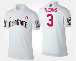 Michael Thomas Ohio State Polo For Men's White Name and Number #3